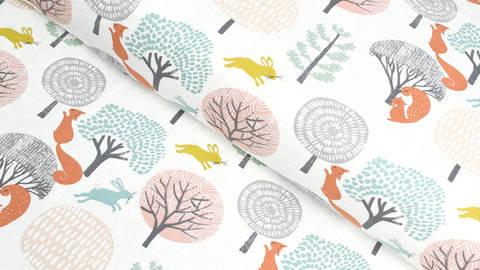 Baumwolljersey meliert grau-orange: Waldtiere - 165 cm kaufen im Makerist Materialshop
