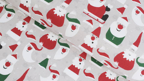 Baumwollstoff grau-beige: Weihnachtsmann - 140 cm kaufen im Makerist Materialshop