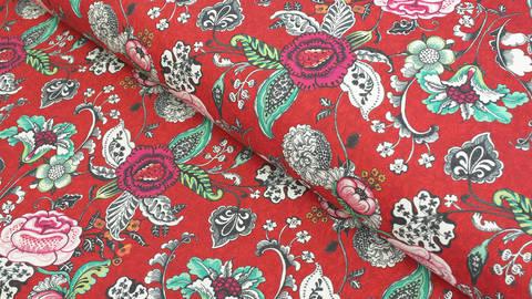 Baumwollstoff rot: Blumen - 160 cm kaufen im Makerist Materialshop