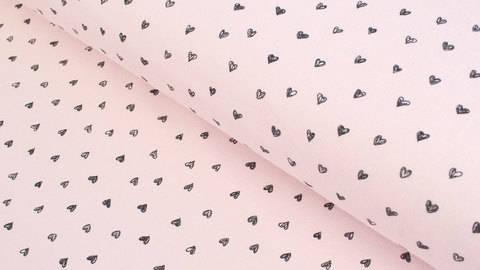 Sweatstoff rosa: Kleine Herzen - 150 cm kaufen im Makerist Materialshop