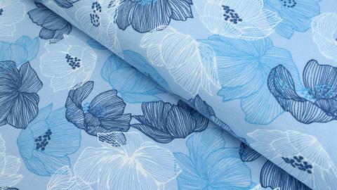 Sweatstoff hellblau: Avalana Blumen - 160 cm kaufen im Makerist Materialshop