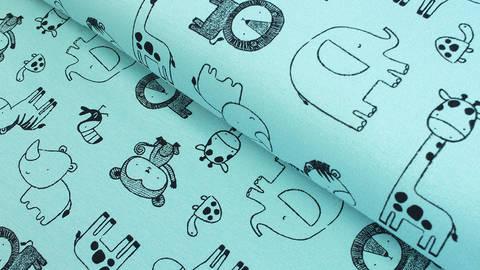 Sweatstoff helltürkis: Avalana Zootiere - 160 cm kaufen im Makerist Materialshop