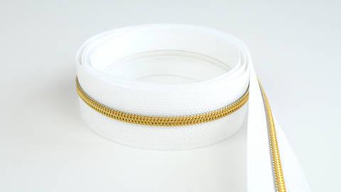 Endlosreißverschluss: gold-weiß - 4 mm  kaufen im Makerist Materialshop