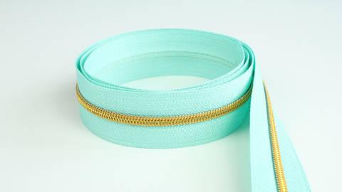 Endlosreißverschluss: gold-mint - 4 mm  kaufen im Makerist Materialshop