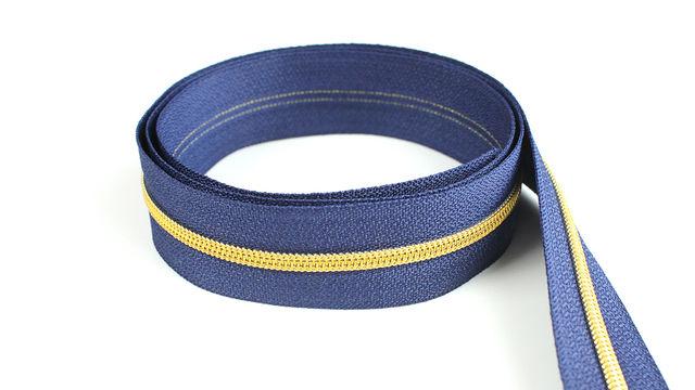 Acheter Fermeture à glissière sans fin : bleu marine doré - 4 mm - Accessoires dans la mercerie Makerist