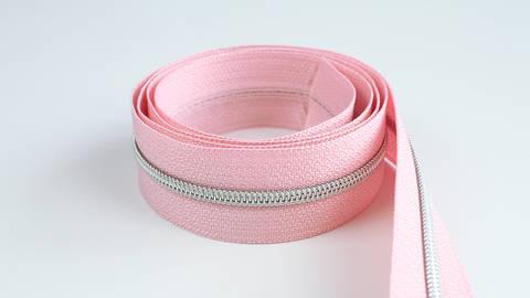 Endlosreißverschluss: silber-rosa - 4 mm  kaufen im Makerist Materialshop