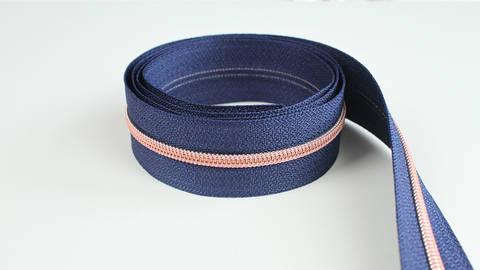 Endlosreißverschluss: kupfer-marineblau - 4 mm  kaufen im Makerist Materialshop