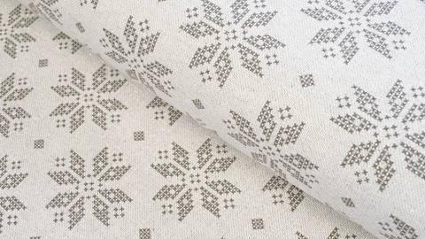 Baumwoll-Mischgewebestoff natur Leinenoptik: Glitzer Schneekristalle - 155 cm kaufen im Makerist Materialshop