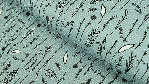 Baumwollstoff blau: Gräser - 112 cm kaufen im Makerist Materialshop