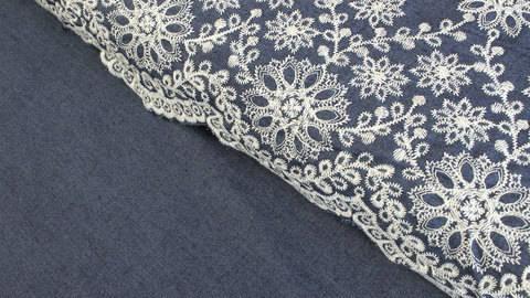 Jeansstoff dunkelblau: Blumenstickerei - 140 cm kaufen im Makerist Materialshop