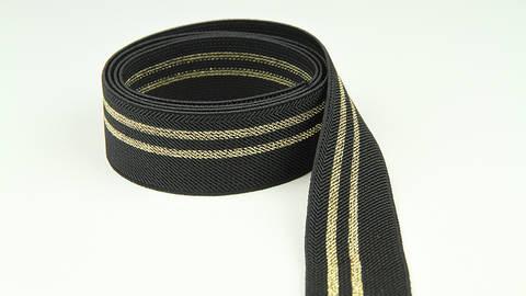 Elastisches Band schwarz-gold: Glitzerstreifen - 3 cm im Makerist Materialshop
