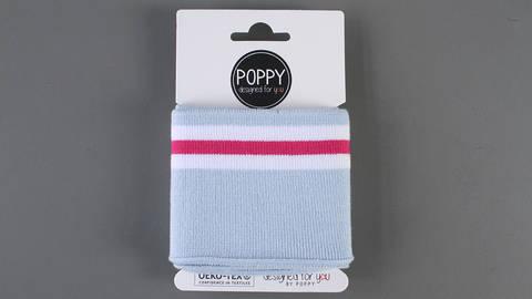 Bündchen hellblau-pink-weiß: elastische Cuffs  kaufen im Makerist Materialshop