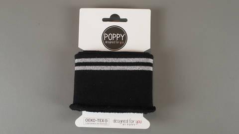 Bündchen mit Glitzerstreifen schwarz-silber: elastische Cuffs kaufen im Makerist Materialshop
