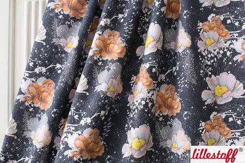 Lillestoff Bio-Summersweat dunkelblau: Winterblumen - 160 cm kaufen im Makerist Materialshop