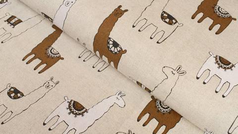 Acheter Tissu en coton mélangé aspect lin : petits lamas - 140 cm dans la mercerie Makerist
