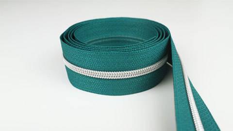 Endlosreißverschluss: silber-petrol - 4 mm  kaufen im Makerist Materialshop