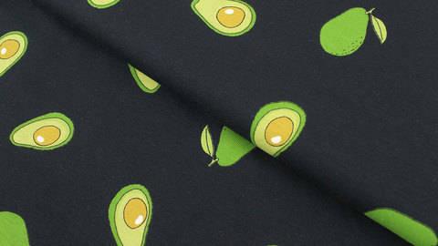 Baumwolljersey dunkelblau: Avocados - 145 cm kaufen im Makerist Materialshop