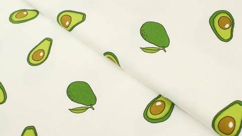 Baumwolljersey weiß: Avocados - 145 cm kaufen im Makerist Materialshop