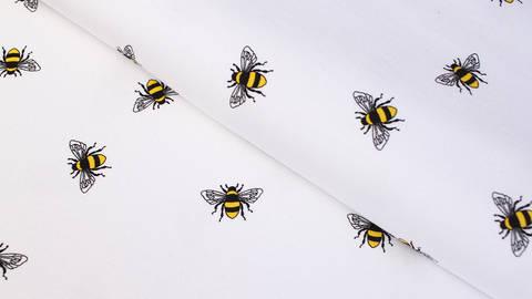 Baumwolljersey weiß: Bienen - 145 cm kaufen im Makerist Materialshop