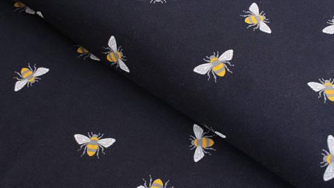 Baumwolljersey navy: Bienen - 145 cm kaufen im Makerist Materialshop