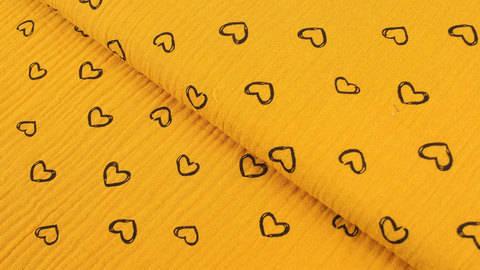 Musselin Baumwollstoff ocker: Herzen - 135 cm kaufen im Makerist Materialshop