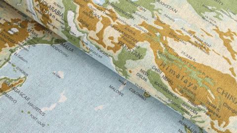 Acheter Tissu en coton mélangé bleu-vert clair: carte du monde - 140 cm dans la mercerie Makerist