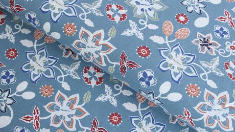 Baumwolljersey rauchblau: Blumenpracht - 145 cm  kaufen im Makerist Materialshop