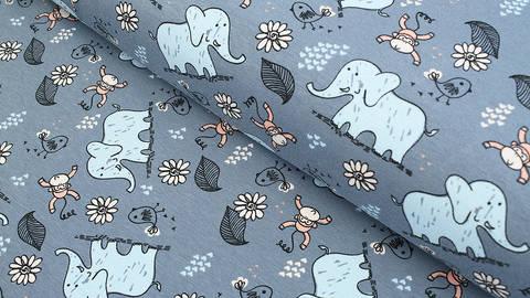 Baumwolljersey grau-blau: Avalana Elefanten und Affen - 162 cm kaufen im Makerist Materialshop