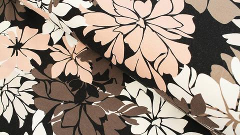 Baumwolljersey schwarz: Avalana Blumen - 162 cm kaufen im Makerist Materialshop