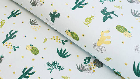 Baumwolljersey mint: Kaktuswüste - 145 cm kaufen im Makerist Materialshop