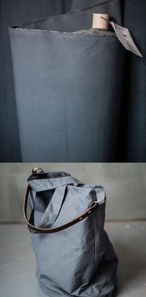 Gewachste Baumwolle matt blaugrau: Dry Oilskin - 150 cm kaufen im Makerist Materialshop