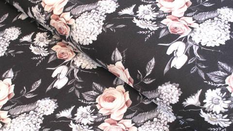 Viskosestoff schwarz-grau: Daisy - 140 cm kaufen im Makerist Materialshop