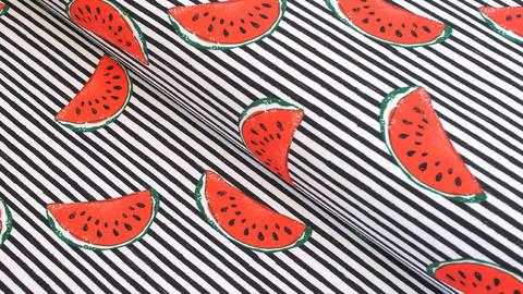 Baumwolljersey Jonne schwarz-weiß gestreift: Wassermelone - 150 cm kaufen im Makerist Materialshop