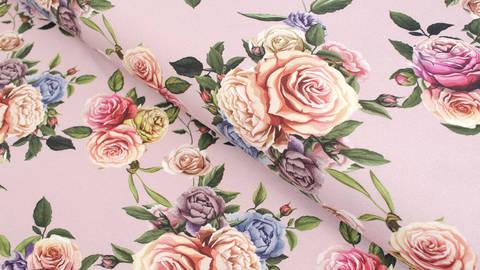 Baumwolljersey altrosa: Megan Blue Tricot Roses - 150 cm kaufen im Makerist Materialshop