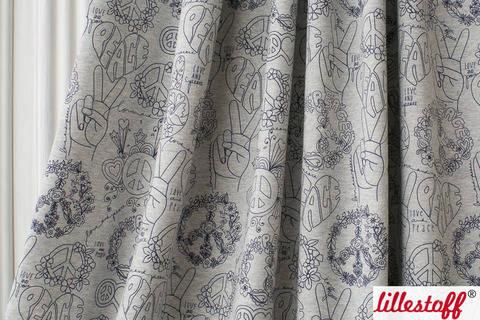 Lillestoff Bio-Jersey grau-blau meliert: Peace And Love - 160 cm kaufen im Makerist Materialshop