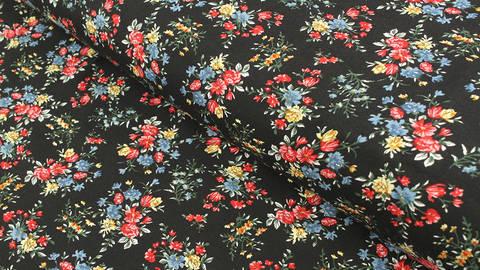 Viskosestoff schwarz: Feldblumen - 150 cm kaufen im Makerist Materialshop