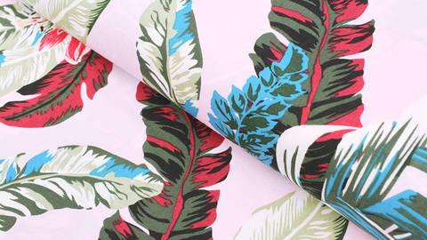 Viskosestoff rosa: Tropische Pflanzen - 150 cm kaufen im Makerist Materialshop
