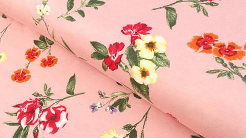 Viskosejersey lachsrosa: Blumenvielfalt - 150 cm kaufen im Makerist Materialshop