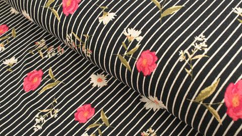 Viskosejersey schwarz-weiß gestreift: Wiesenblumen - 150 cm kaufen im Makerist Materialshop