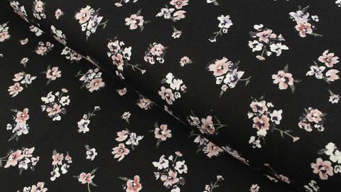 Viskosejersey schwarz: Petunien -150 cm kaufen im Makerist Materialshop