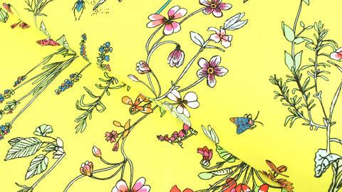 Bademodenstoff neongelb: Wildblumen - 155 cm kaufen im Makerist Materialshop