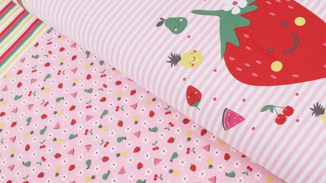 Baumwolljersey Rapport rosa weiß: Bunte Früchte - 150 cm im Makerist Materialshop - Bild 1
