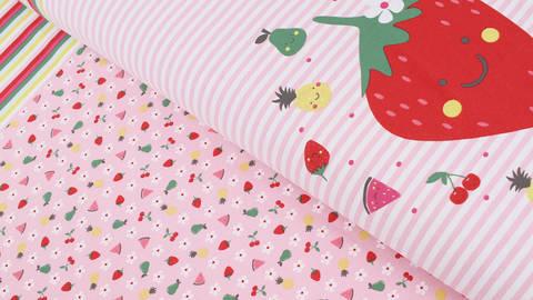 Baumwolljersey Rapport rosa weiß: Bunte Früchte - 150 cm kaufen im Makerist Materialshop