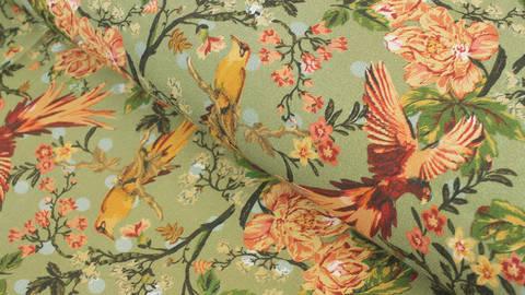 Viskosestoff grün: Blumen und Vögel - 130 cm kaufen im Makerist Materialshop