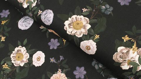 Viskosestoff dunkelblau: Blumenvielfalt - 140 cm kaufen im Makerist Materialshop