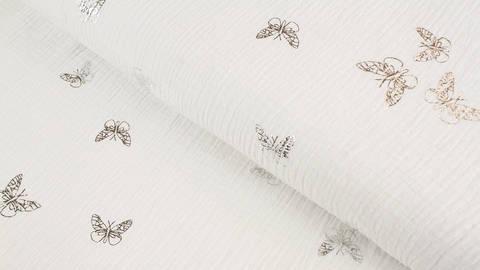Musselin Baumwwollstoff weiß silber: Schmetterlinge - 135 cm kaufen im Makerist Materialshop