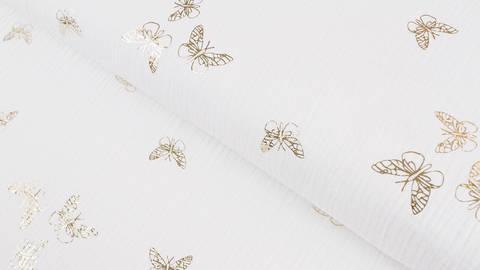 Musselin Baumwwollstoff weiß gold: Schmetterlinge - 135 cm kaufen im Makerist Materialshop