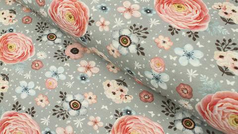 Baumwolljersey grau: Megan Blue Tricot Sweet Flower Garden - 150 cm kaufen im Makerist Materialshop