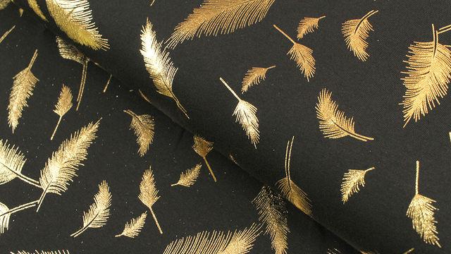 Baumwolljersey schwarz-gold: Metallic Federn - 150 cm - Stoffe kaufen im Makerist Materialshop