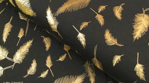 Baumwolljersey schwarz-gold: Metallic Federn - 150 cm kaufen im Makerist Materialshop
